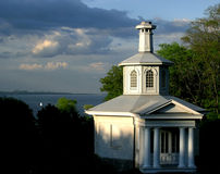 Dundrn Castle chapel. The Dundurn castle chapel at sunset with Lake Ontario behind Stock Images