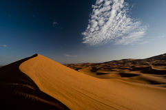 Dune arancioni del deserto all'indicatore luminoso di mattina Immagini Stock