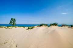 Dune beach. Horizontal sand dune beach and blue water Royalty Free Stock Images