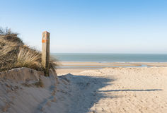 Wooden pole in a dune at the beach Stock Images