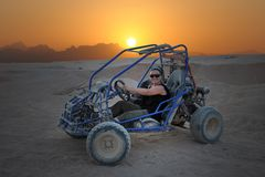 Dune Buggy in desert scene Stock Photo