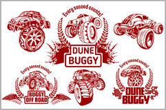 Dune buggy and monster truck - vector badge Stock Image