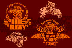 Dune buggy and monster truck - vector badge Stock Photos