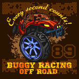 Dune buggy riders - off road badge Stock Photos