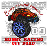 Dune buggy riders - off road badge Stock Images
