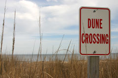 Dune crossing. Sign on beach Dune Crossing royalty free stock photography