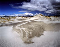 Dune di sabbia bianche sull'isola dello sputo d'addio, isola del sud, Nuova Zelanda Fotografia Stock