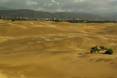 Dune di sabbia e la città di Coro nel Venezuela fotografie stock libere da diritti