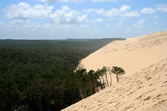 Dune du Pyla in Arcachon, France. Photograph of the gigantic Dune du Pyla on the Western Coast of France, engulfing the forest Stock Photo
