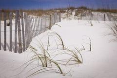 Dune e recinto di sabbia alla spiaggia Fotografia Stock Libera da Diritti