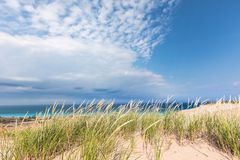 Sleeping Bear Dunes National Lakeshore in Michigan. Dune grass sways in the breeze under a blue sky with dramatic white clouds over Lake Michigan, at Sleeping Stock Photography