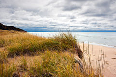 Dune landscape. View of Lake Michigan and dune landscape in early fall.  After Labor Day, most vacationers desert the shoreline Stock Photo