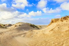 Dune landscape Dutch coast with sand drifts and wind eroded deep holes. Dunes on the Dutch North Sea coast at IJmuiderslag with wind sweeping stripes in the sand Stock Photography