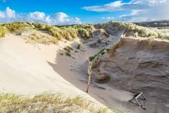Dune landscape Dutch coast with sand drifts and wind eroded deep holes. Newly formed Dunes  with deep carved wind holes on Dutch North Sea coast at IJmuiderslag Stock Photo