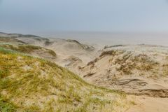 Dune landscape Dutch coast with sand drifts and wind eroded deep holes. Winters dune landscape Dutch coast with by autumn storms deep carved out  wind holes Royalty Free Stock Images