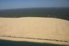 Dune between ocean and sky. The most dune of Europe. It makes 107 meters in height stock photo