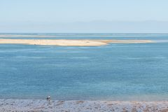 The dune of Pilat on the Arcachon Bay, France. View over the sandbank of Arguin from the dune of Pilat, or Pyla, in France, on the Arcachon Bay : the highest Royalty Free Stock Image