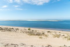 The dune of Pilat on the Arcachon Bay, France. View over the sandbank of Arguin from the dune of Pilat, or Pyla, in France, on the Arcachon Bay : the highest Stock Photography