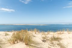 The dune of Pilat on the Arcachon Bay, France. View over the sandbank of Arguin from the dune of Pilat, or Pyla, in France, on the Arcachon Bay : the highest Stock Photo