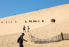 Eople walking on the top of the Dune of Pilat, the tallest sand dune in Europe. La Teste-de-Buch, Arcachon Bay, Aquitaine. Dune of Pilat, France - September 10 royalty free stock photo