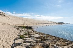 The dune of Pilat, Arcachon Bay, France. The dune of Pilat, or Pyla, in France, on the Arcachon Bay, is the highest sand dune in Europe, located a few kilometers Stock Photo