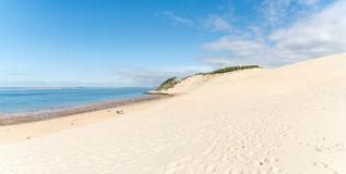 The dune of Pilat, Arcachon Bay, France. The dune of Pilat, or Pyla, in France, on the Arcachon Bay, is the highest sand dune in Europe, located a few kilometers Royalty Free Stock Image