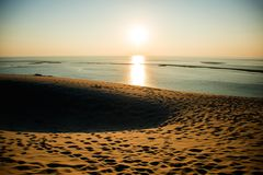 Dune of Pilat. Sunset in France. The Dune of Pilat is the tallest sand dune in Europe royalty free stock photos