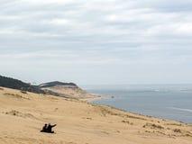 Dune of Pilat Dune du Pyla - the tallest sand dune in Europe, Atlantic Ocean, Arcachon Bay, Aquitaine, France royalty free stock photo