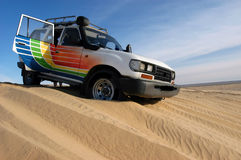 Dune ride. With 4wd vehicle in Sahara desert Stock Photography