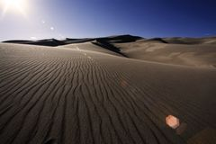 Dune Ripples. Late in the day shot in the Great Sand Dune National Park, Alamosa, Colorado Stock Image