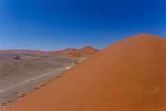 Dune 45 in sossusvlei Namibia. View from the top of a dune, best place in Namibia, Dune 45 is the biggest dune in the world Stock Image