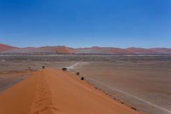 Dune 45 in sossusvlei Namibia. View from the top of a dune, best place in Namibia, Dune 45 is the biggest dune in the world Royalty Free Stock Photo