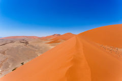 Dune 45 in sossusvlei Namibia, view from the top of a Dune 45 in sossusvlei Namibia, view from the top of a dune Royalty Free Stock Photos