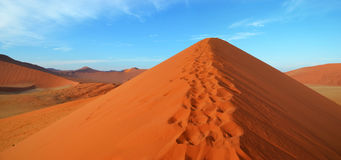 Dune 45. Is a star dune in the Sossusvlei area of the Namib Desert in Namibia. Its name comes from the fact that it is at the 45th kilometre of the road that Stock Photo