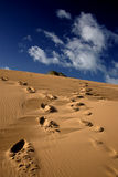 Dune steps. Foot steps on a sand dune going different ways stock photography