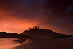 Dune at Sunset. Photo of a Dune, Pacific City, Oregon, at Sunset stock photos