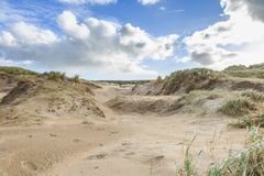 Dune landscape Dutch North Sea coast with slopes with dune grasses and bare valleys Royalty Free Stock Photos
