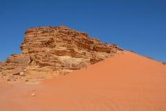 Dune in the  Wadi Rum desert in Jordan. Royalty Free Stock Photography