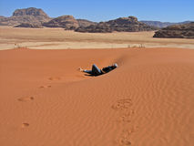 Dune, WADI RUM, JORDAN. Relaxing in dune, Wadi Rum, JORDAN Stock Image