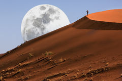 Dune walking in the Namib Desert. At Sossusvlei in Namibia Royalty Free Stock Photo