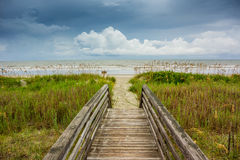 Dune Walkway Looking Onto Cloudy Ocean Stock Photography