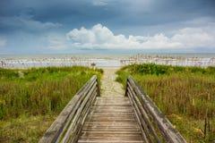 Dune Walkway Looking Onto Cloudy Ocean Stock Photography
