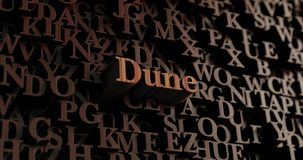 Dune - Wooden 3D rendered letters/message Stock Photo