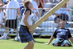 Dunedin Highland Games 2008. Photo shot of competitor Caber Toss stock images