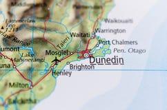 Dunedin on map. Close up shot of Dunedin on map Stock Image
