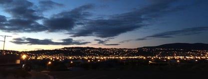 Dunedin, New Zealand at night. City of Dunedin, New Zealand illuminated at night Royalty Free Stock Photography