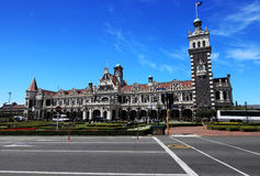 Dunedin railway Station with blue sky background Royalty Free Stock Photography