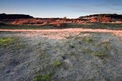 Dunes à la lumière du soleil inférieure. Photographie stock