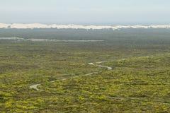 Dunes éloignées de désert en réserve naturelle de De hoop Image stock