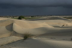 Dunes. Dramatic light over sand dunes with approaching black rain clouds royalty free stock photos